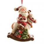 Декор Дед мороз на лошади-качалке керамика 9см