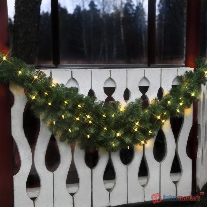 Гирлянда еловая 1,8м зеленая рогаль с огнями дополнительная EXPO 100 ламп