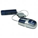 Мышь оптическая Manhattan MM5, разрешение сенсора 1000 dpi, 3 клавиши, USB кабель 0.76 м, серебристый/синий, блистер.Размер 70x35x21 мм 177559